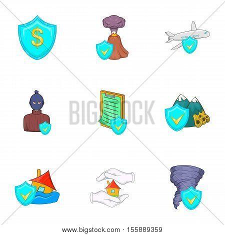Crash icons set. Cartoon illustration of 9 crash vector icons for web