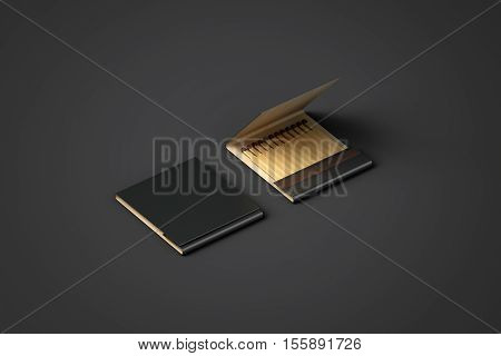 Blank black promo matches book mock up clipping path 3d rendering. Paper match box packaging mockup. Matchbook case top side view ready for logo design presentation. Opened matchbox presentation.