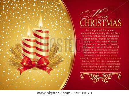 Christmas card with holidays candles