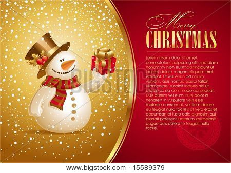 Christmas card with smiling snowman