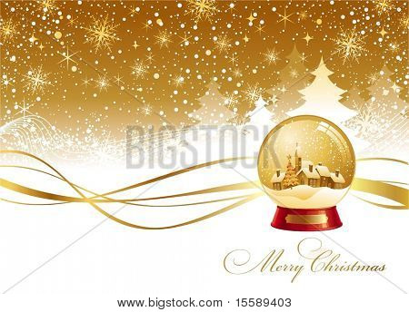 Christmas winter landscape and snow globe