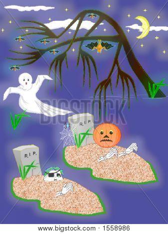 Halloween Ghosts And Tombstones