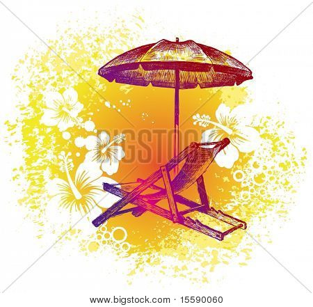 Hand drawn chair and umbrella on a flowers background