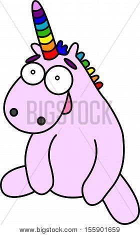 Pink cartoon unicorn seat. Rainbow horn and mane. Vector image.