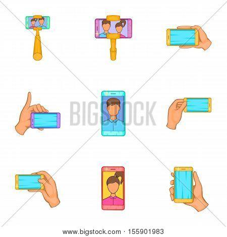 Photo on mobile phone icons set. Cartoon illustration of 9 photo on mobile phone vector icons for web