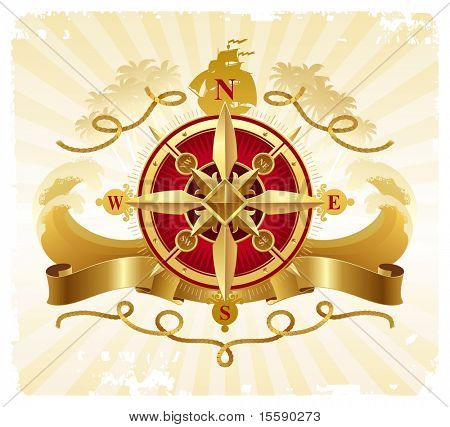 Travel and adventures vintage emblem with golden compass rose