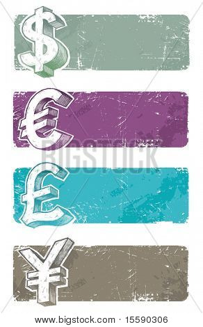 Vector banners with hand drawn currency signs