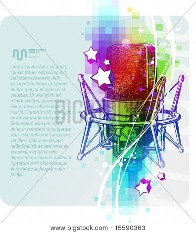 Colorful vector design with hand drawn studio microphones