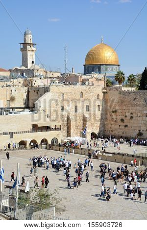 JERUSALEM ISRAEL 26 10 16: Jewish pray a the Western Wall, Wailing Wall the Place of Weeping is an ancient limestone wall in the Old City of Jerusalem. Second Jewish Temple by Herod the Great