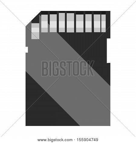 SD card icon in monochrome style isolated on white background. Personal computer symbol vector illustration.