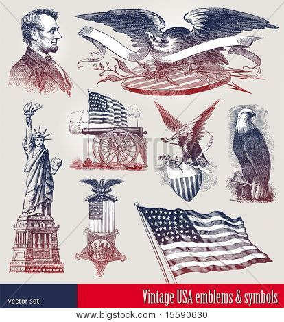 Vector set of american patriotic emblems & symbols