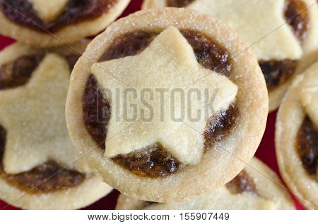 Mince Pies With Star Shaped Pastry From Above