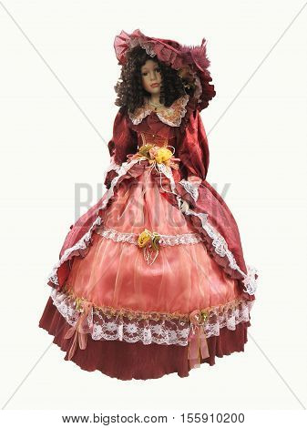 Abstract vintage medieval red ornate dress on a mannequine isolated over white background