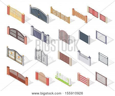Set of gates and fences vectors. Isometric projection. Collection of metal, wrought iron, lattice and wooden gates and fences for yard. For gaming environment, app, web design. Isolated on white