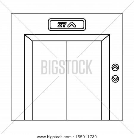 Elevator icon in outline style isolated on white background. Hotel symbol vector illustration.