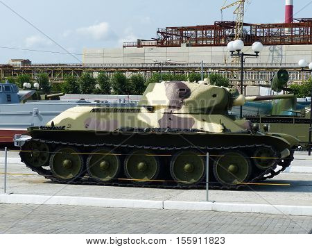 Upper Pyshma, Russia - July 2, 2016: Soviet medium Tank T-34-76 arr. 1940 of times of World War II  - exhibit of a of the Museum of Military Equipment