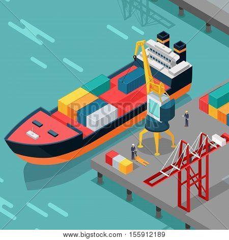 Warehouse port vector concept. Isometric projection. Ship with containers on the berth at the port, cranes, workers,  hangars ashore. Transatlantic carriage. For transport, delivery company landing page