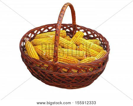 Yellow Corn Vegetable In Basket Isolated