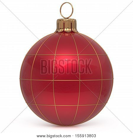 Christmas ball New Year's Eve decoration world globe Earth planet bauble red shiny international wintertime hanging adornment. Global universe ornament Merry Xmas happy winter holidays. 3d render