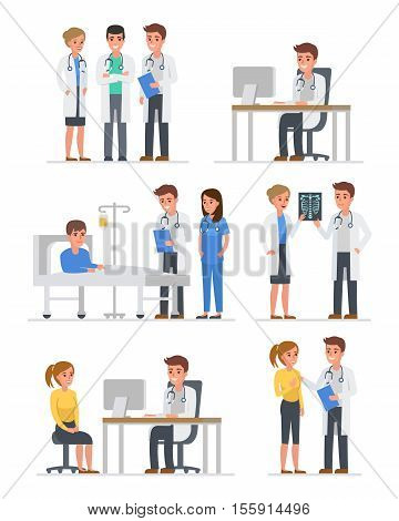 Doctors characters set. Doctors group doctor with patient doctor with computer. Vector illustration.