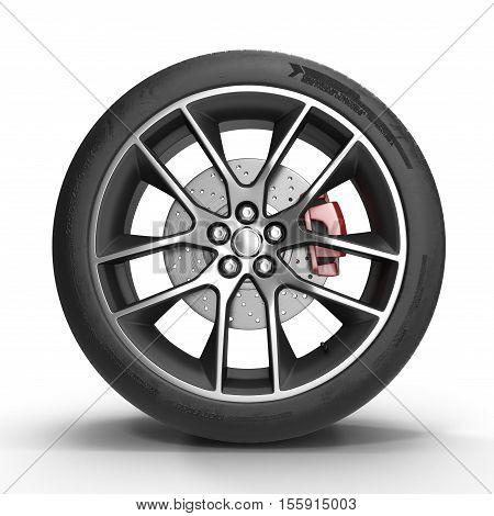 Automotive wheel on light alloy disc isolated on white background. 3D illustration