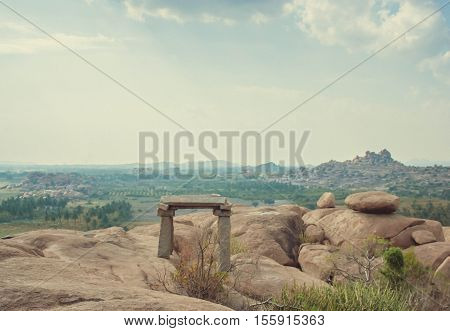 Building sky and Valley in Hampi India