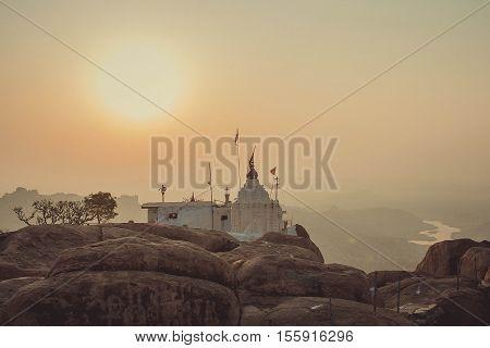Hanuman Temple in sunrise time on the hill. Hampi India