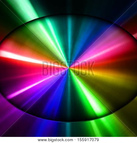 oval metal with colorful stripe background
