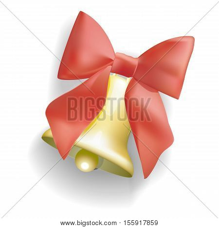 Golden bells with Christmas tree branches red ribbon, berries and leafs. Detailed vector illustration