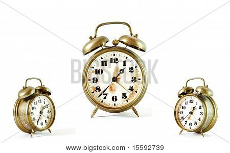 Collage Of Old Vintage Gold Alarm Clock Isolated On White