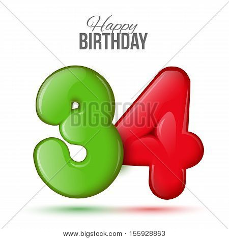 thirty four birthday greeting card template with 3d shiny number thirty four balloon on white background. Birthday party greeting, invitation card, banner with number 35 shaped balloon