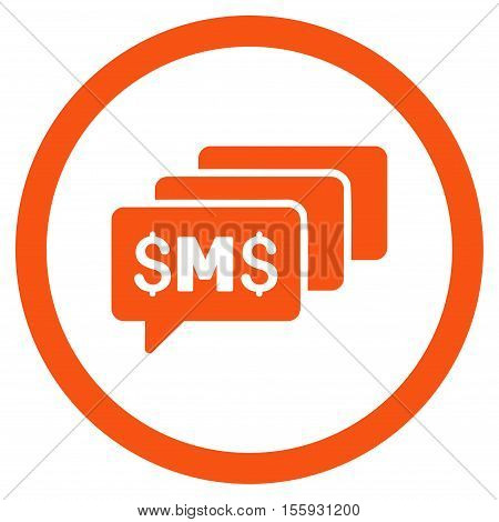 SMS Messages rounded icon. Vector illustration style is flat iconic symbol, orange color, white background.