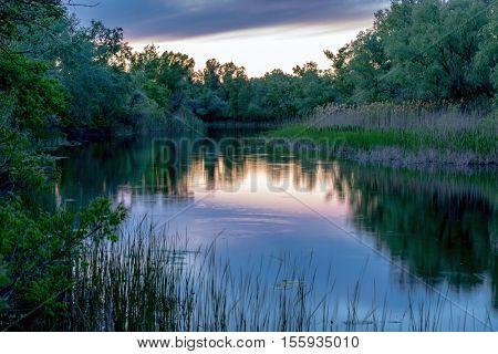 Quiet evening scene on river