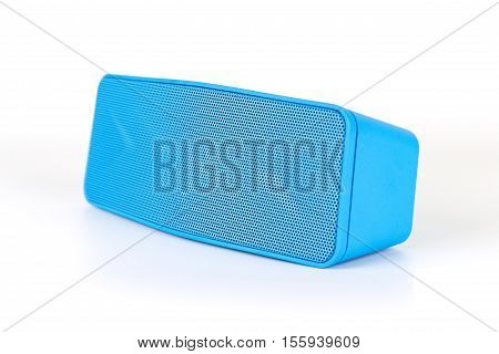 Blue Loudspeaker Blue Tooth On White Background