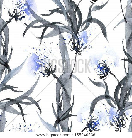 Watercolor and ink illustration of blossom flowers. Gohua sumi-e u-sin painting. Seamless pattern.