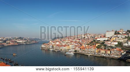 Portugal, Porto, view of the city and Douro's river early in foggy morning. picture with no name (ads)