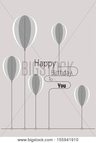 Birthday Card With Abstract Folded Paper Balloons