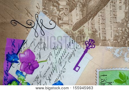 Texture, Background. Cotton Fabric, Linen Patterned Abstract On The Topic Music