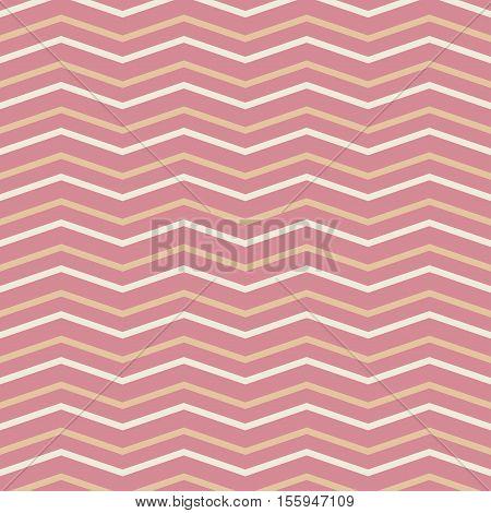 Summer seamless zig zag pattern in pink. Vector.