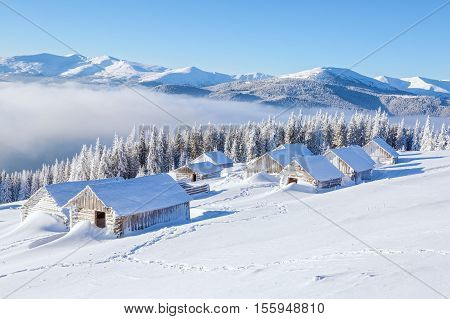 Winter camp for tourist with the harmonic mountain views