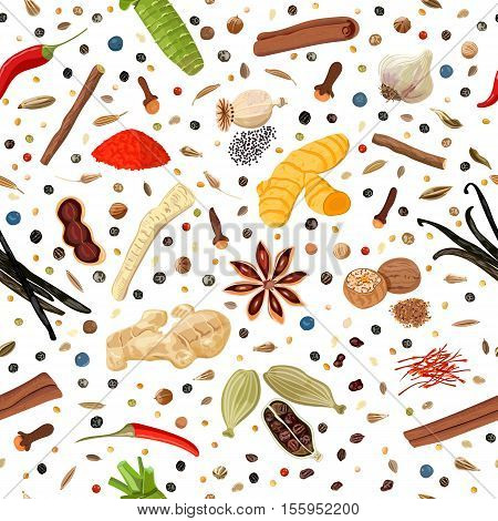 Cooking spices seamless pattern vector set. Popular culinary seasonings. Design for cosmetics, store, market, natural health care products. Can be used as logo, textile, emblem, For packing, wrapping