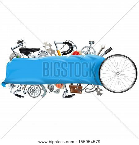Vector Banner with Bicycle Spares isolated on white background
