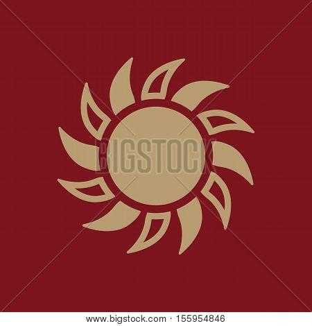 The sun icon. Sunrise and sunshine, weather, sun symbol. UI. Web. Logo. Sign Flat design App Stock vector