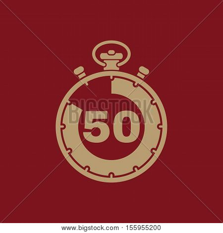 The 50 seconds, minutes stopwatch icon. Clock and watch, timer, countdown, stopwatch symbol. UI. Web. Logo Sign Flat design App Stock vector