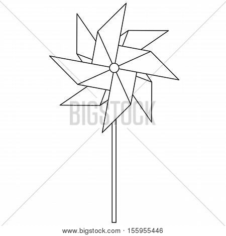 Pinwheel. Children's toy rotating in the wind. Spinner in the style of the line. Vector illustration.
