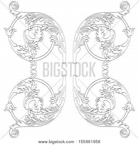 Vintage baroque ornament, retro ornament, pattern antique ornament, style ornament, acanthus ornament., decorative ornament, design ornament, filigree ornament. Vector.