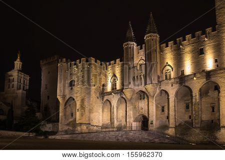 Avignon pope palace in the night France