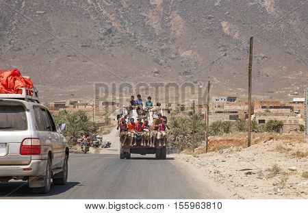People At The Back Of The Truck In Socotra, Yemen