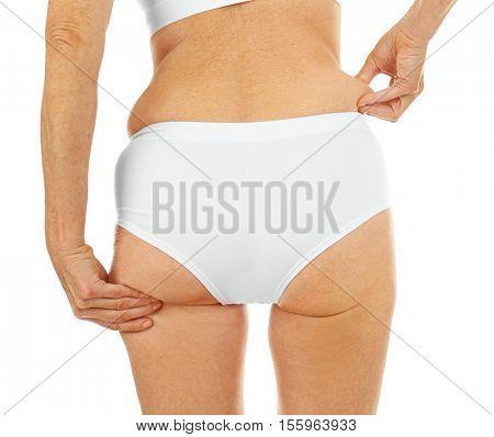 Senior woman body on white background, closeup