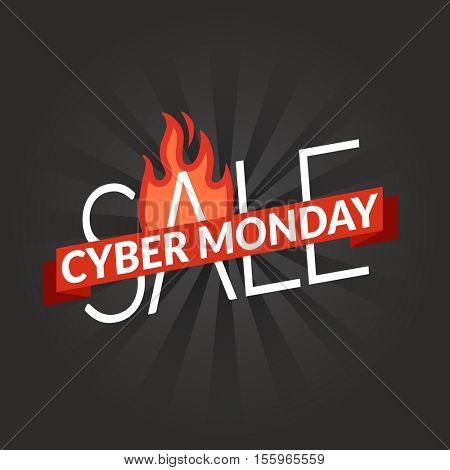 Cyber monday sale shopping banner. Vector logo illustration